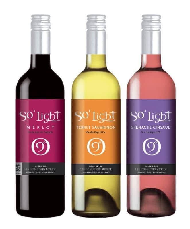 So'Light gamme de vins allégés en alcool de l'IGP Pays d'Oc des domaines Auriol